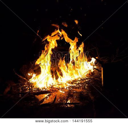 Bright orange and yellow campfire with black background.