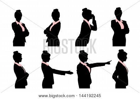 silhouette of business woman do various actions