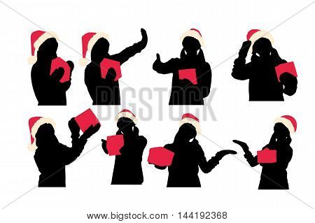 silhouette of woman wear christmas hats and take gift do various actions