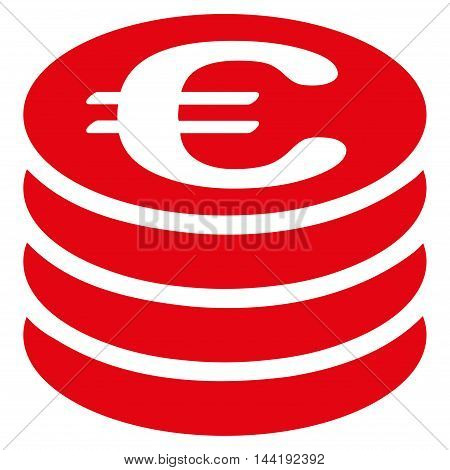 Euro Coin Stack icon. Vector style is flat iconic symbol with rounded angles, red color, white background.
