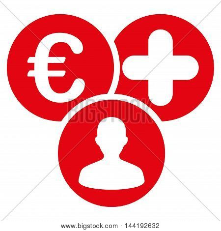 Euro Medical Expences icon. Vector style is flat iconic symbol with rounded angles, red color, white background.