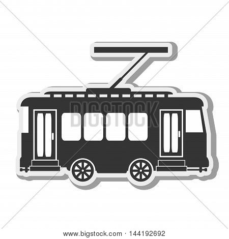 transportation vehicle public tram street railway vector illustration
