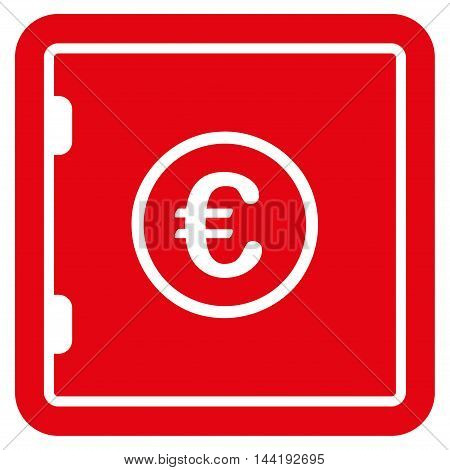 Euro Safe icon. Vector style is flat iconic symbol with rounded angles, red color, white background.