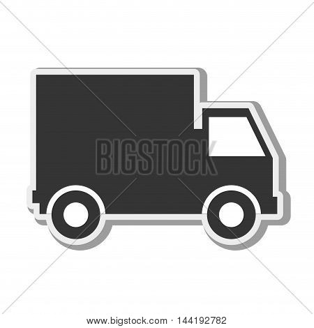 cargo truck transportation vehicle silhouette side view vector illustration