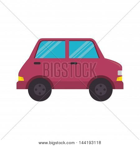 pink car vehicle transportation automobile side view vector illustration