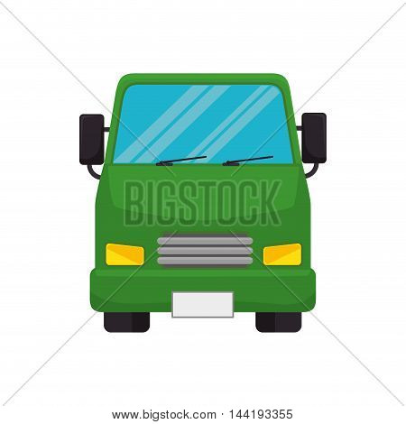 transport vehicle green bus urban travel front view transportation vector illustration