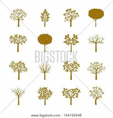 Set Golden Trees. Vector Illustration. Nature and Garden.