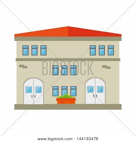house building modern residential real home  exterior residence vector illustration