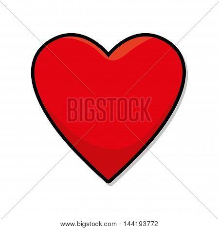 red heart love romatic passion decoration symbol vector illustration