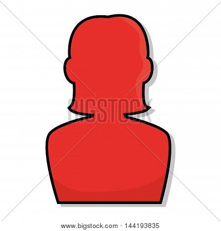 red avatar female user person face profile vector illustration