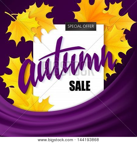 vector hand drawn autumn lettering sale label with leaves on silk fabric background.