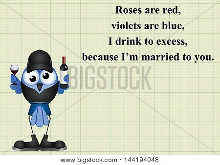 Comical drink to excess poem on graph paper background with copy space for own text