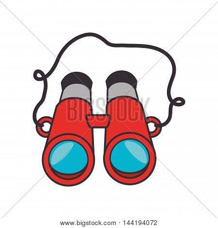 camping equipment red binoculars zoom focus vector illustration