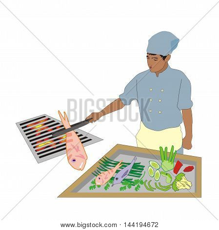 Illustration Asian chef wearing uniforms cooks fish barbecue