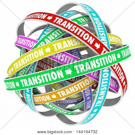 Transition Change Process Evolution Words Loops 3d Illustration