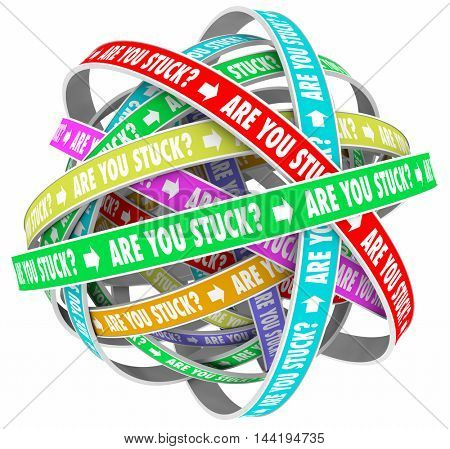 Are You Stuck Rut Lost Going Circles Words 3d Illustration