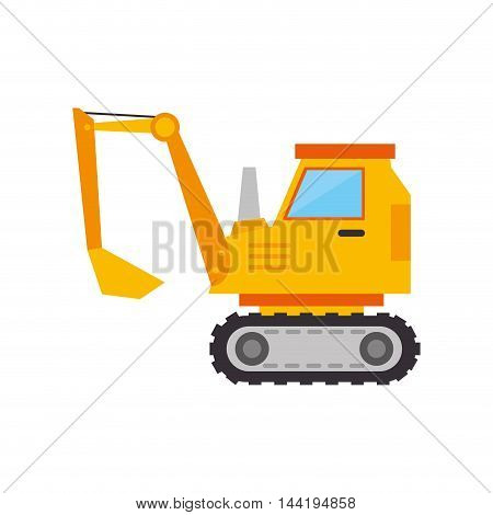 excavator truck construction yellow vehicle machinary scoop vector illustration
