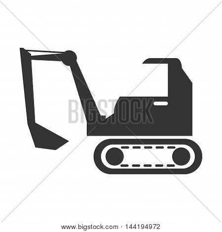 excavator truck construction  vehicle machinary scoop silhouette vector illustration