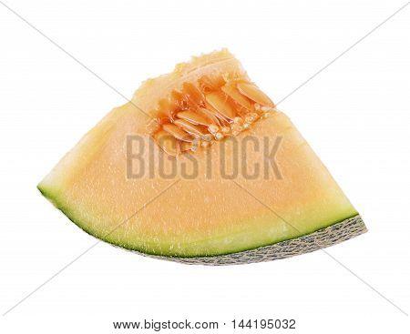 Closeup cantaloupe melon isolated on white background