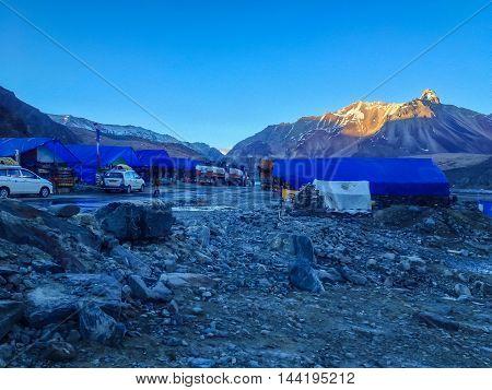 MANALI-LEH INDIA - JULY 5 2014 : Small village local restaurant and shop at Manali - Sarchu camp - Leh Ladakh highway road in India