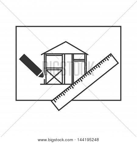 architecture project design house building sketch plane  ruler pencil vector illustration