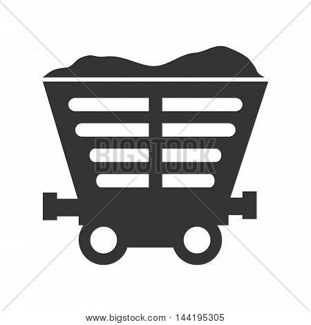 mining train cargo transportation railway industry silhouette vector illustration