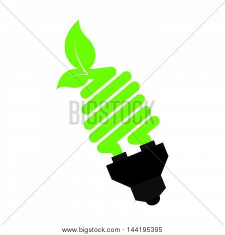 bulb power leaves plant ecology nature enviromental vector illustration
