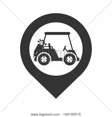 location pin ubication golf car vehicle sport hobby vector illustration