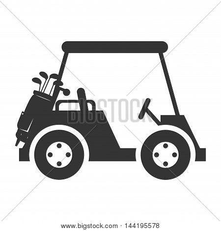 golf car vehicle auto transport sport game silhouette vector illustration