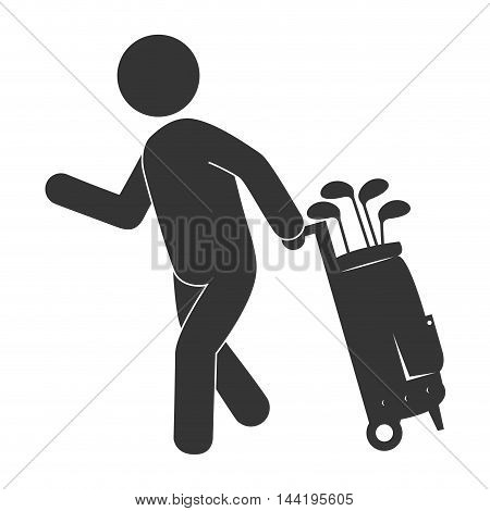 golf sport player man game clubs bag equipment  vector illustration