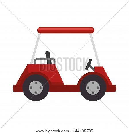 golf car vehicle red auto transport sport game vector illustration
