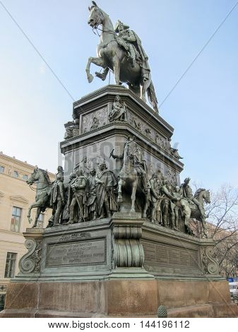The equestrian statue of Frederick the Great is an outdoor sculpture in cast bronze at the east end of Unter den Linden in Berlin honouring King Frederick II of Prussia.