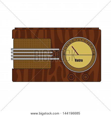 Compact old cartoon vintage retro wooden radio.