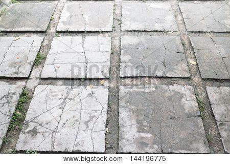 Outdoor cement brick floor in garden stock photo