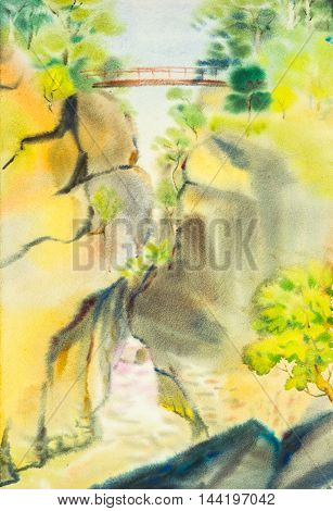 watercolor original landscape painting yellow color of mountain in sky and cloud background between the brige
