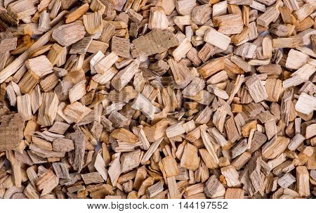 Alder wood chips for smoking foods closeup