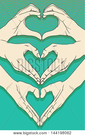Human hands with heart sign set