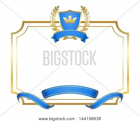 Laurel wreath gold icon with shield crown ribbon in frame. Golden label with border isolated on white background. Elegant design for decoration of product or advertising. Vector illustration