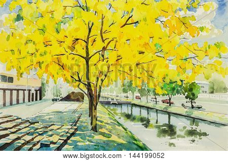 watercolor original landscape painting yellow orange color of golden tree flowers in sky and cloud background