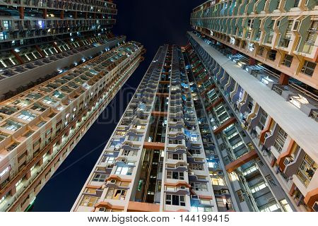 Skyscraper from low angle at night