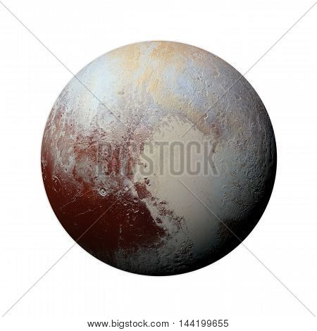 Solar System - Pluto. Isolated Planet On White Background.