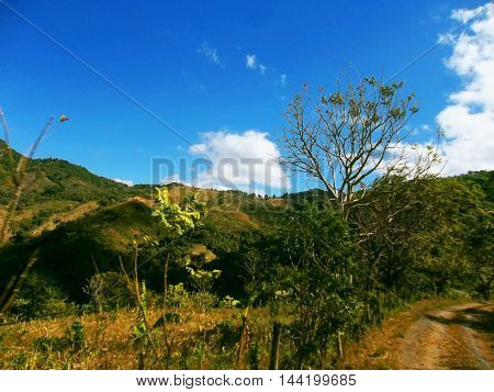 Beautiful landscape of hills arriving at the city of Camoapa boaco department in Nicaragua.