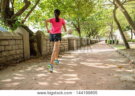 Rear view of woman running in a park