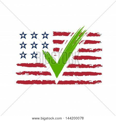 Presidential election USA sign. Green blue and red design on white background for voting campaign. Vote patriotic mark for poster icon sign. Symbol of political patriotism. Vector illustration