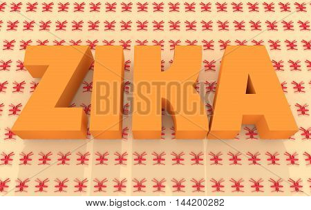 Zika desease text on mosquito pattern backdrop. Zika virus danger relative illustration. Medical research theme. 3d rendering