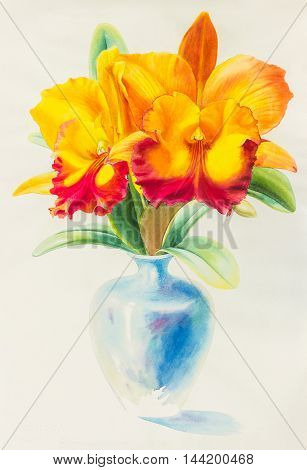 Watercolor original painting yellow red color of orchid flower and green leaves in blue vase.