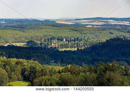Czech Landscape Known As Czech Canada With Village