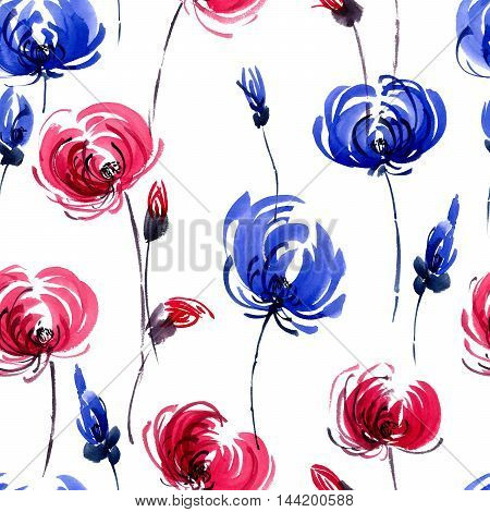 Watercolor and ink illustration of red and blue chrisanthemiumflowers. Oriental traditional painting in style sumi-e gohua. Decorative seamless patterns.