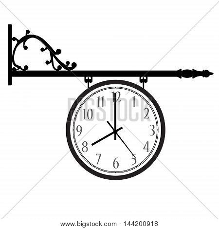 Vector illustration hanging vintage street clock with arabic numerals. Retro street clock