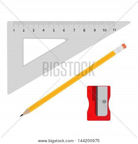 Vector illustration sharpener pencil and triangle ruler office school stationery tools. Office stationery tools icon set flat design